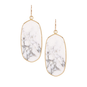 White Marble Oval Earrings