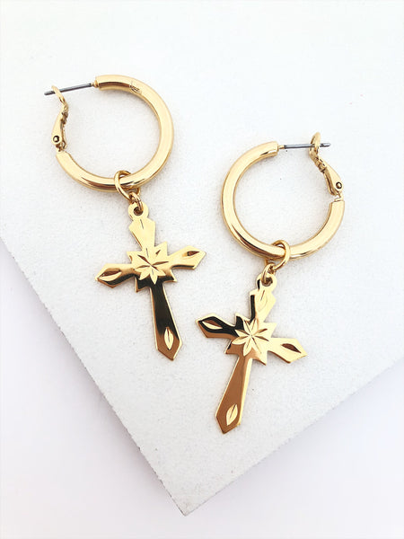 Gothic Cross Hoops