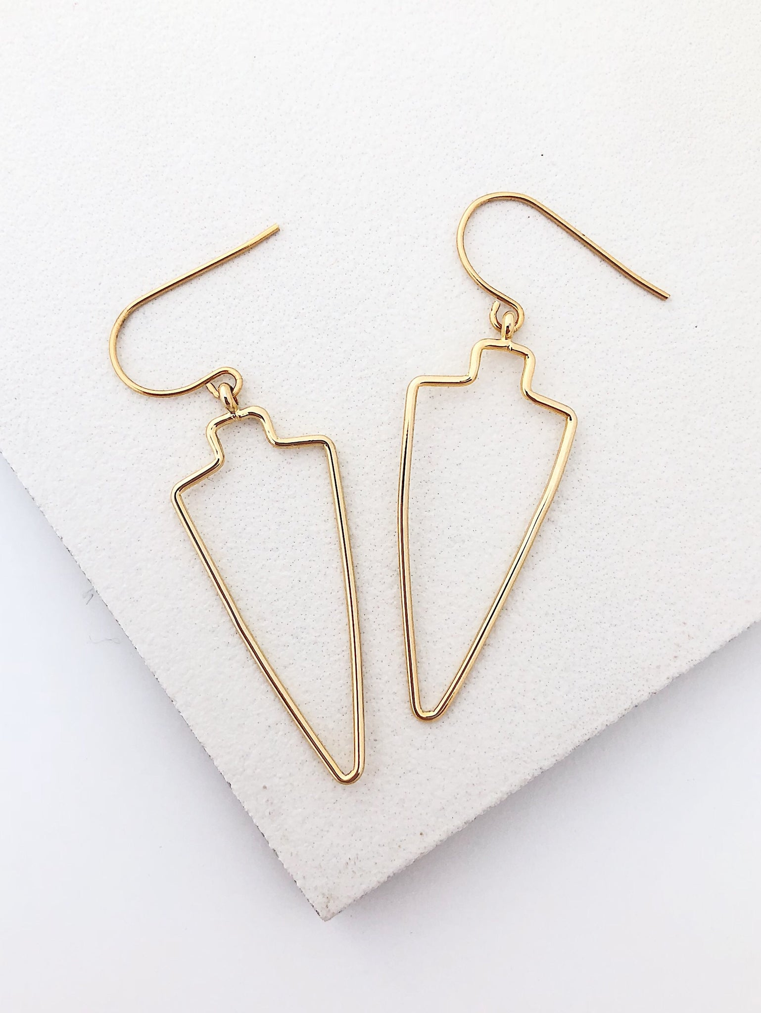 Gold Arrowhead Outline Earrings