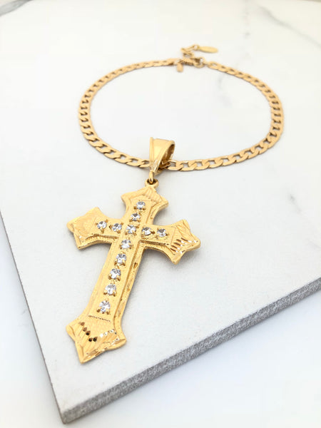 Crystalized Cross Statement Necklace
