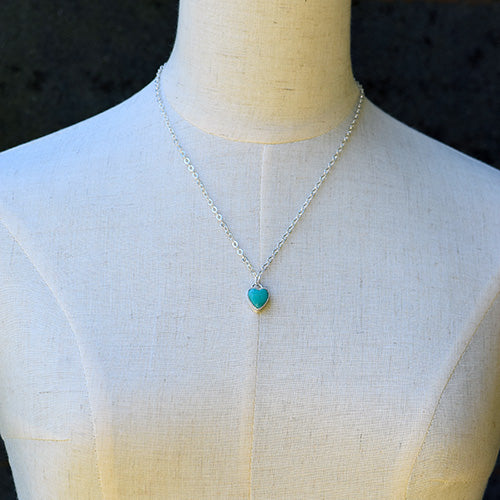 Sterling Silver Turquoise Heart Necklace
