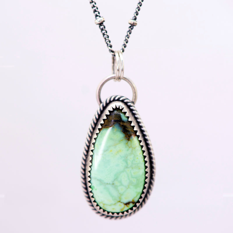 Butterfly Wing Variscite & Sterling Silver Necklace