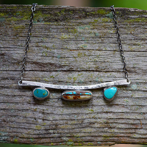 Royston Turquoise & Sterling Silver Bar Necklace