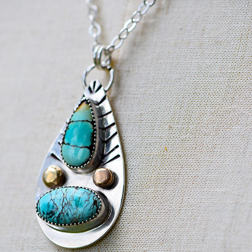 Blue Moon Turquoise with Sterling Silver & Copper