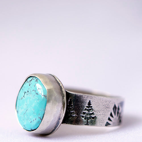 Blue Moon Turquoise Sterling Silver Stamped Ring - U.S. Size 9 1/2