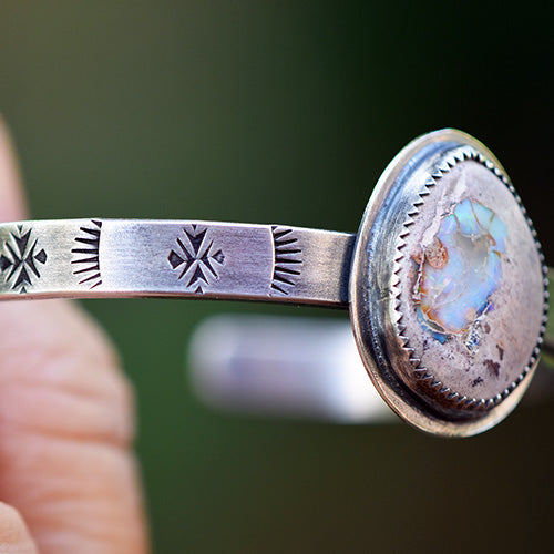 Stamped Sterling Silver Cuff with Cantera Opal