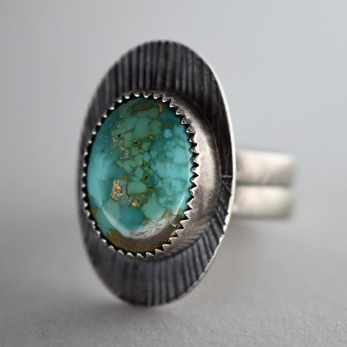 Carico Lake Turquoise Sterling Silver Sun Ray Ring - U.S. Size 7 1/2