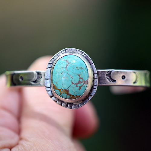 Stamped Sterling Silver Cuff with Carico Lake Turquoise