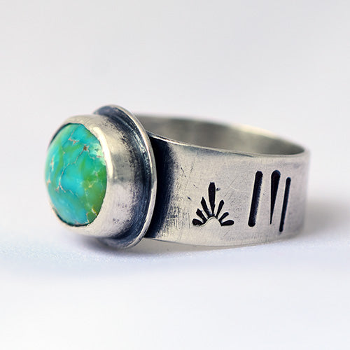 Carico Lake Turquoise Sterling Silver Stamped Ring - U.S. Size 8 1/2