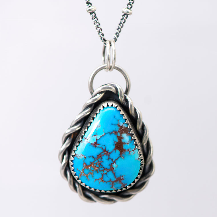 Golden Hill Turquoise Teardrop & Sterling Silver Necklace