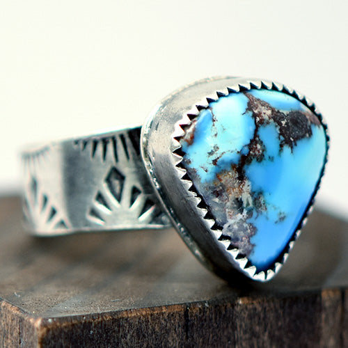 Golden Hills Turquoise Sterling Silver Stamped Ring - U.S. Size 8 1/2