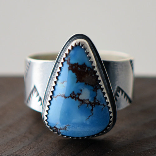 Golden Hill Turquoise Sterling Silver Stamped Ring - U.S. Size 10 1/2