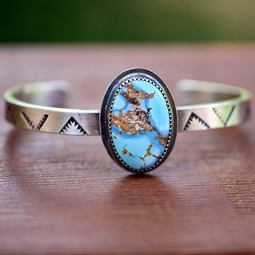 Custom Listing for Claudia: Stamped Sterling Silver Cuff with Golden Hills Turquoise