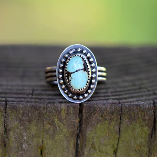 10% OFF - Sterling Silver & Golden Hill Turquoise - U.S. Size 7