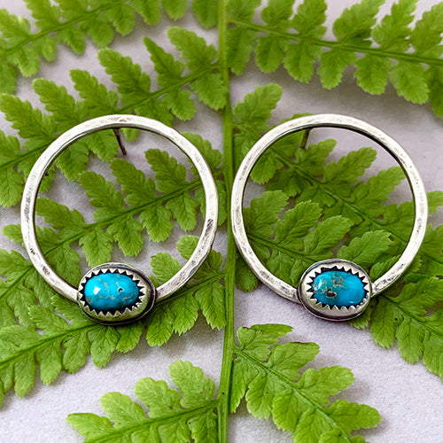 Sterling Silver Hoop Studs with Lone Mountain Turquoise