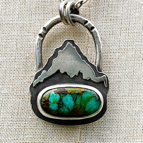Mountain Keeper // Mt. Hood // Sterling Silver & Hubei Turquoise Necklace
