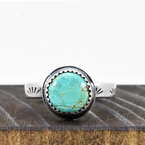 Hubei Turquoise Sterling Silver Stamped Stacker Ring - U.S. Size 5