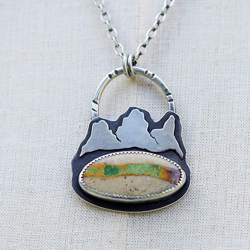 Mountain Keeper // Three Sisters // Sterling Silver & Royston Ribbon Turquoise Necklace
