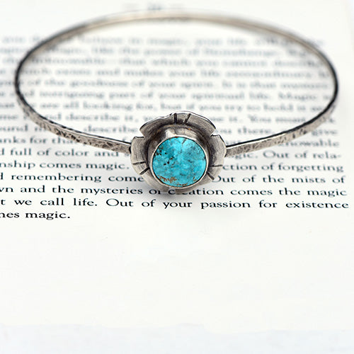 Sterling Silver & Majestic Turquoise Flower Bangle