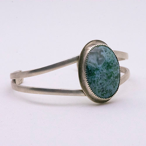 Sterling Silver Split Shank Cuff with Moss Agate