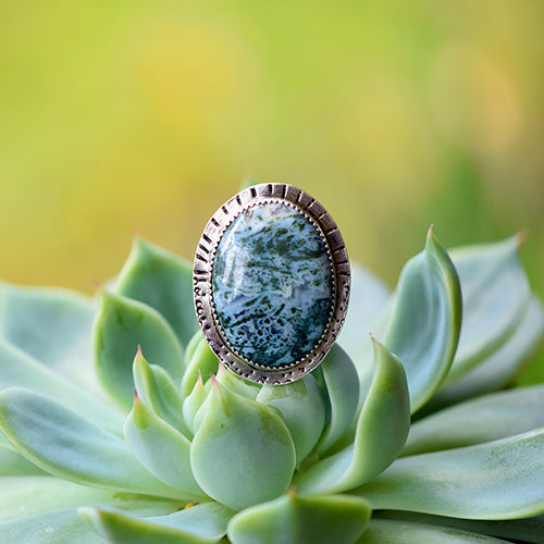 Moss Agate Sterling Silver Triple Band Ring - U.S. Size 8