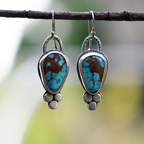 Sterling Silver & Number 8 Turquoise Earrings