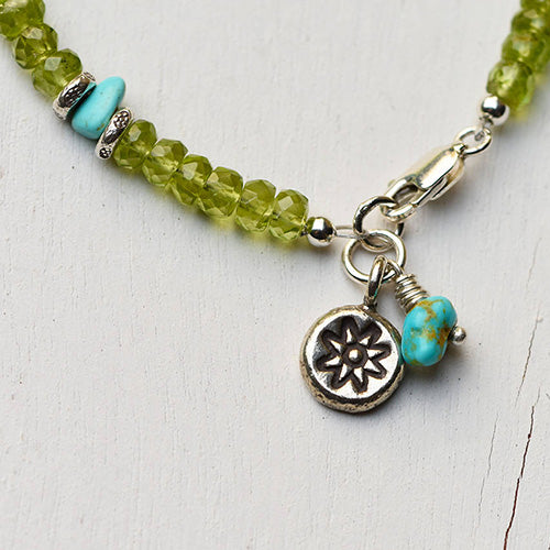 Peridot, Turquoise, and Silver Bracelet