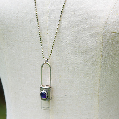 Essential Oil Rollerball  Necklace - Sterling Silver Amethyst Crescent Moon