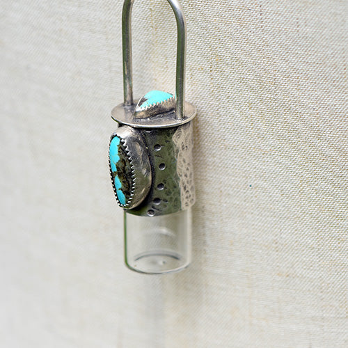 Essential Oil Rollerball  Necklace - Royston Ribbon & Carico Lake Turquoise