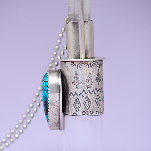 Essential Oil Rollerball  Necklace - Hubei Turquoise & Quartz Crystal