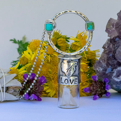 "Essential Oil Rollerball  Necklace - Warrior Heart - ""LOVE"""