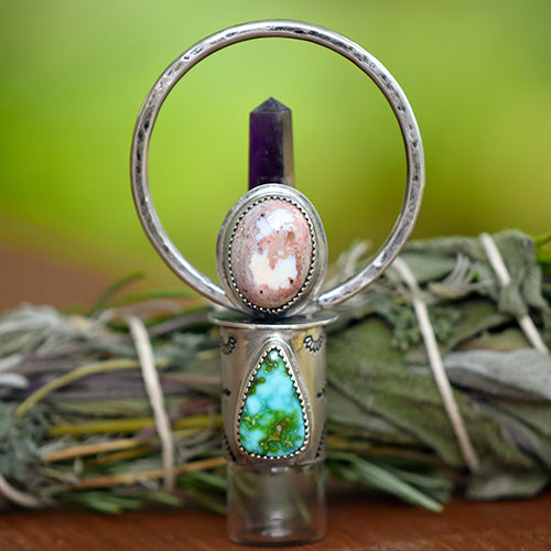 Goddess Amulet - Deluxe Essential Oil Rollerball  Necklace - Cantera Opal, Sonoran Gold Turquoise, & Amethyst Crystal Point