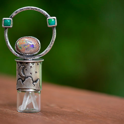 Essential Oil Rollerball  Necklace - Three Sisters Starry Sky with Sonoran Gold Turquoise & Cantera Opal