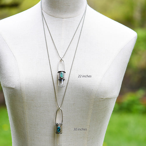 Essential Oil Rollerball  Necklace - Royston Ribbon Turquoise & Crystal Quartz