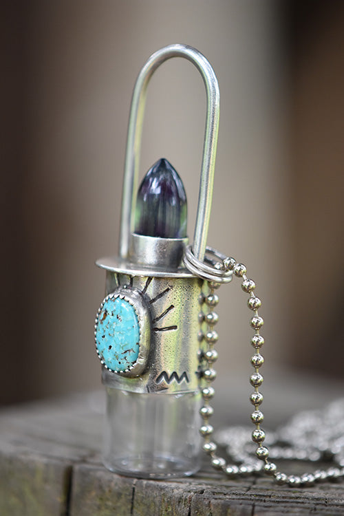 Essential Oil Rollerball  Necklace - Sierra Nevada Turquoise & Fluorite Bullet with Trees & Mountains