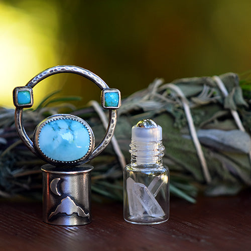 Essential Oil Rollerball Necklace - Mt. Hood & Crescent Moon Scene with Blue Moon & Sonoran Gold Turquoise