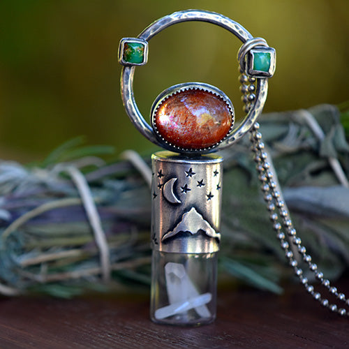 Essential Oil Rollerball  Necklace - Mt. Hood Starry Night, Crescent Moon Scene with Sunstone & Sonoran Gold Turquoise