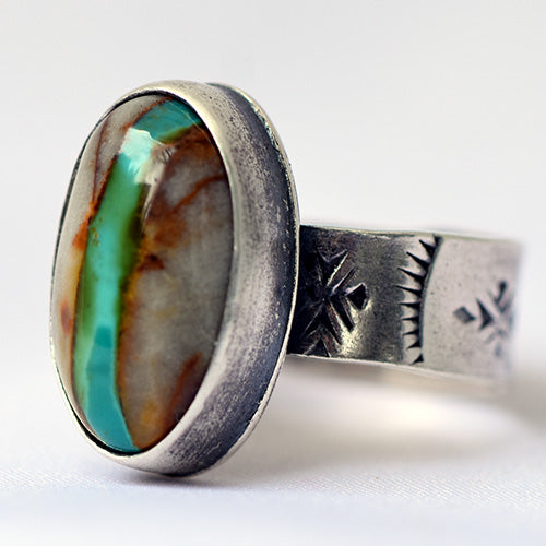 Royston Ribbon Turquoise Sterling Silver Stamped Ring - U.S. Size 8 1/2