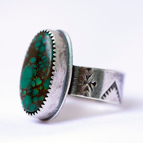 Hubei Turquoise Sterling Silver Stamped Ring - U.S. Size 7 1/4
