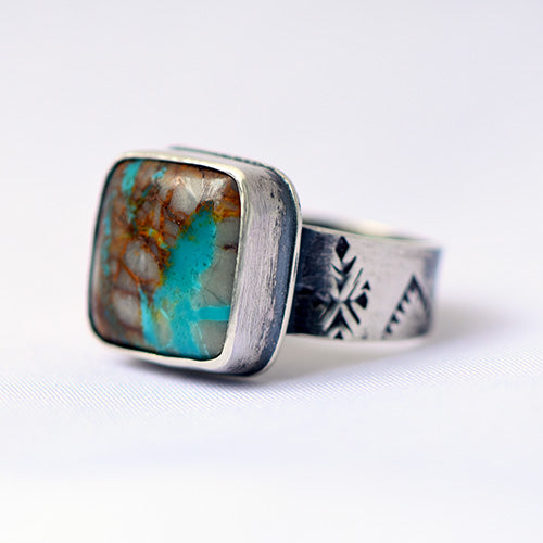Royston Ribbon Turquoise Sterling Silver Stamped Ring - U.S. Size 7 1/2