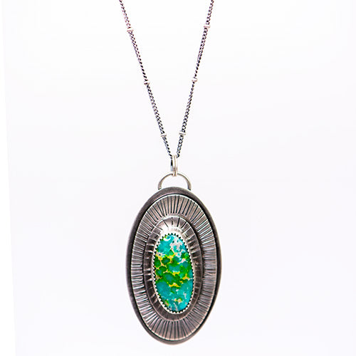 Sonoran Gold Turquoise & Sterling Silver Tree Medallion