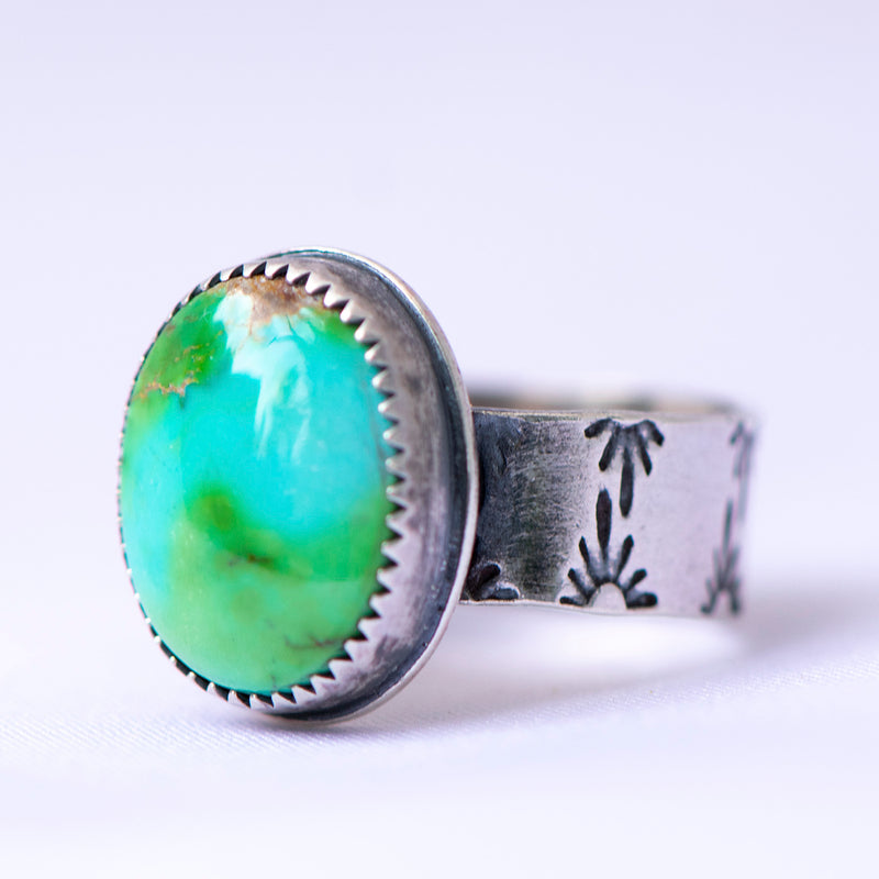 Sonoran Gold Turquoise Sterling Silver Stamped Ring - U.S. Size 8