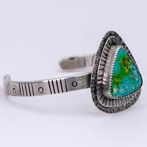 "Stamped Sterling Silver Cuff with Sonoran Gold Turquoise ~ ""I'll ride the wave where it takes me"""