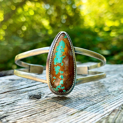 Sterling Silver Split Shank Cuff with Royston Ribbon Turquoise