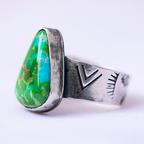 Sonoran Gold Turquoise Sterling Silver Stamped Ring - U.S. Size 6