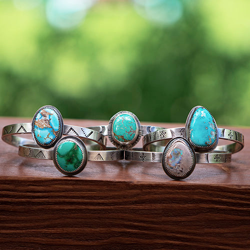 Stamped Sterling Silver Cuff with Stone Mountain Turquoise
