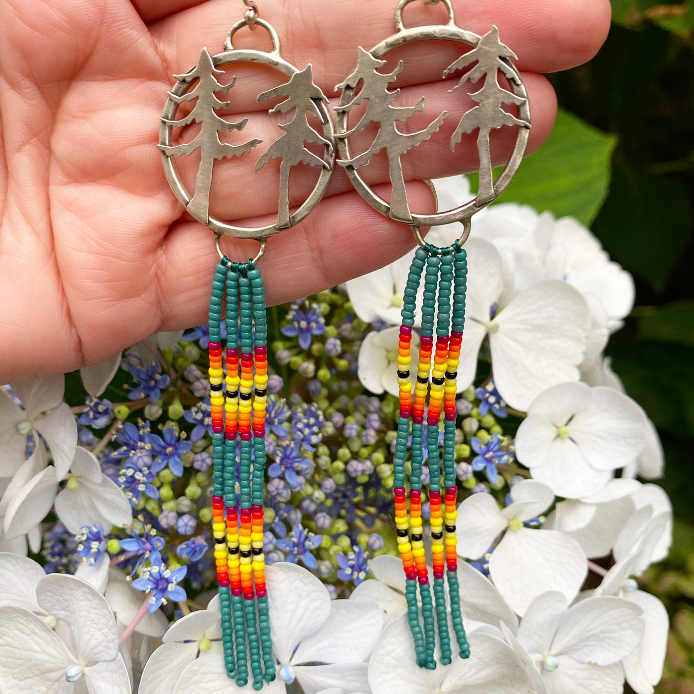 Sterling Silver Sugar Pine Earrings with Beaded Dangles