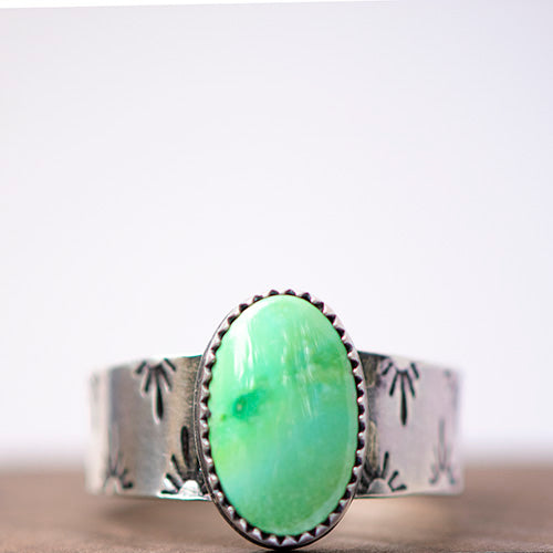 Verde Valley Turquoise Sterling Silver Stamped Ring - U.S. Size 10 1/2