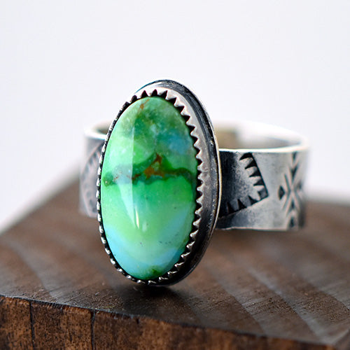 Verde Valley Turquoise Sterling Silver Stamped Ring - U.S. Size 7 1/2