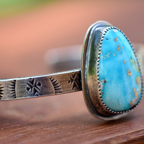 Stamped Sterling Silver Cuff with White Water Turquoise